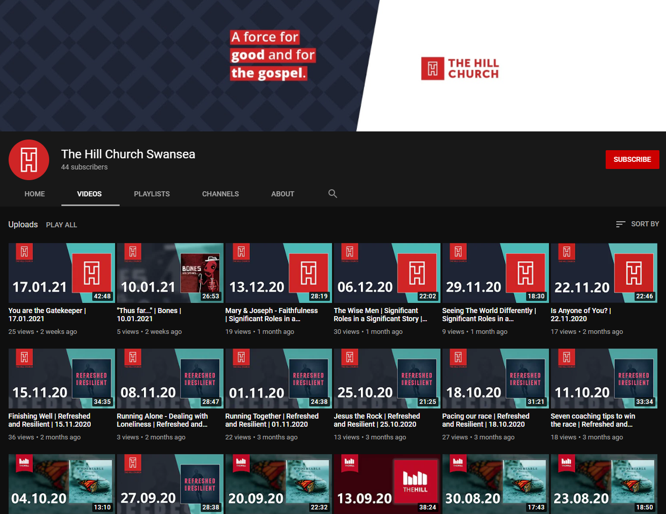 A screenshot of our YouTube Channel